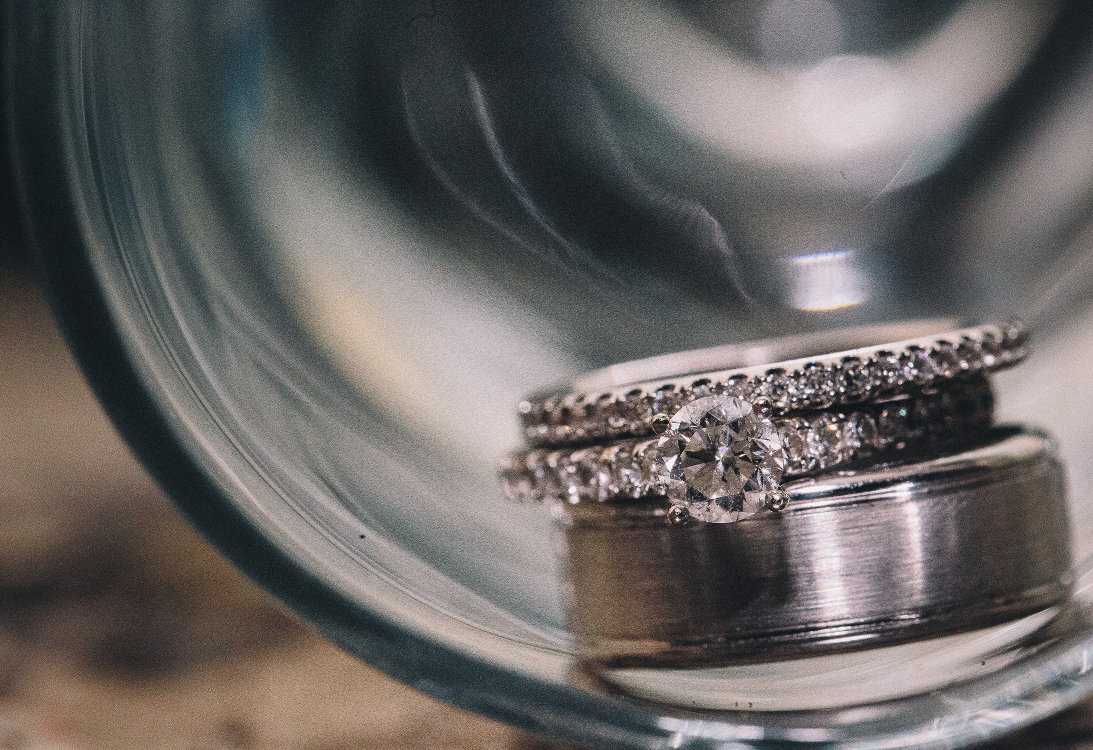 Diamond engagement ring and the wedding rings at Cambridge Mill