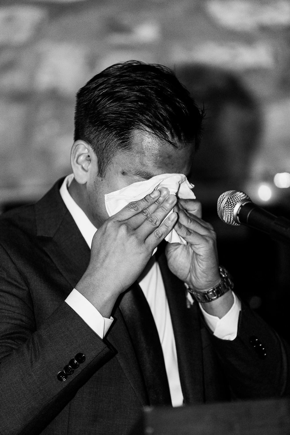 Best man crying during speech at reception at Cambridge Mill