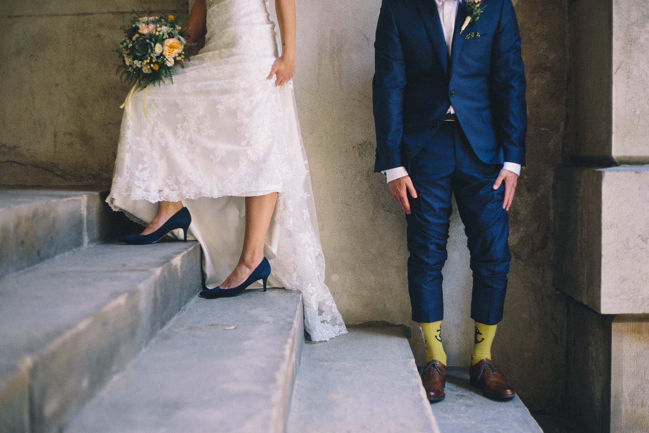 Fun shot of the bride and groom's footwear at Osgoode Hall