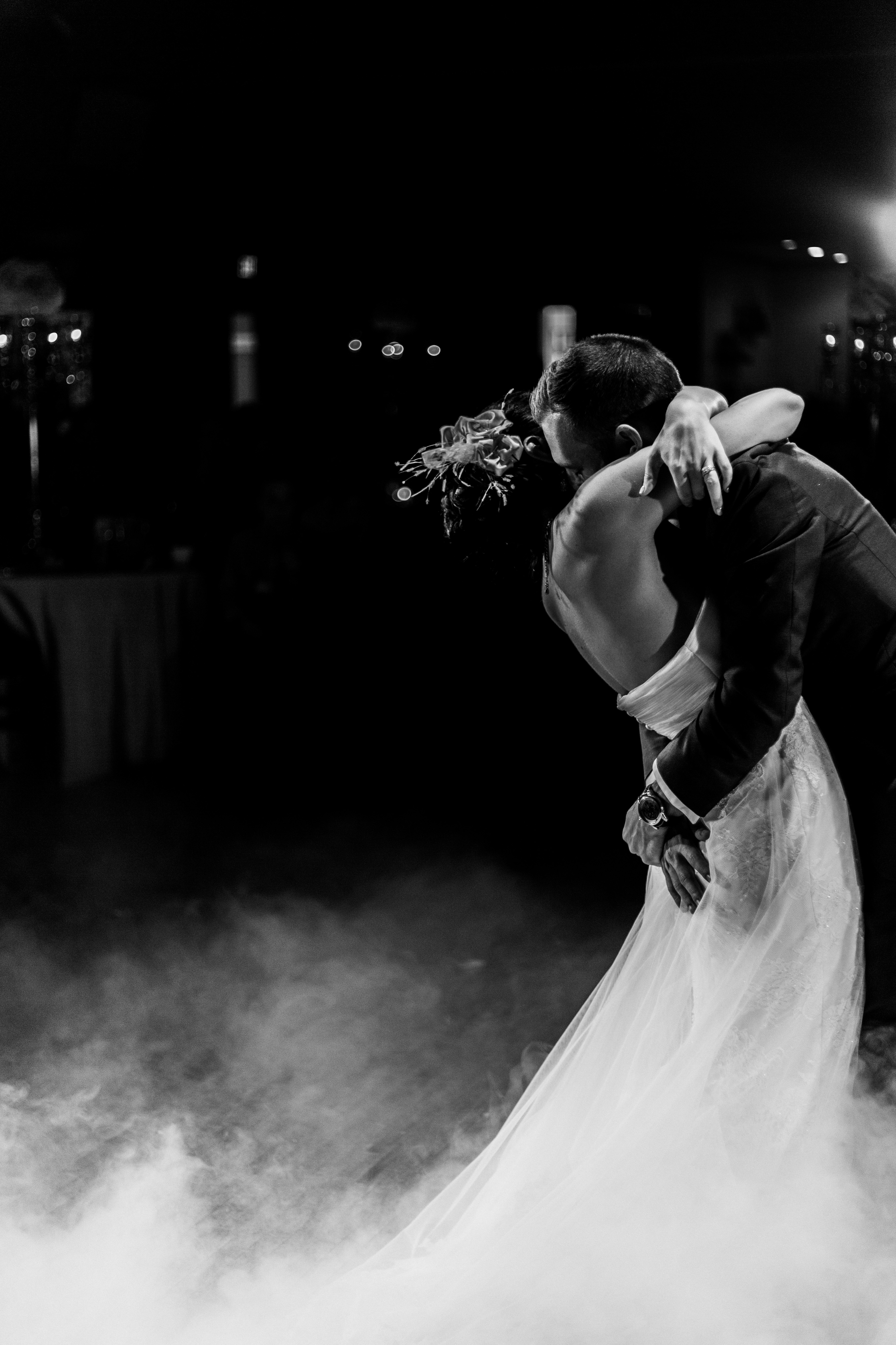 Bride and groom dancing during their first dance at the Palais Royale