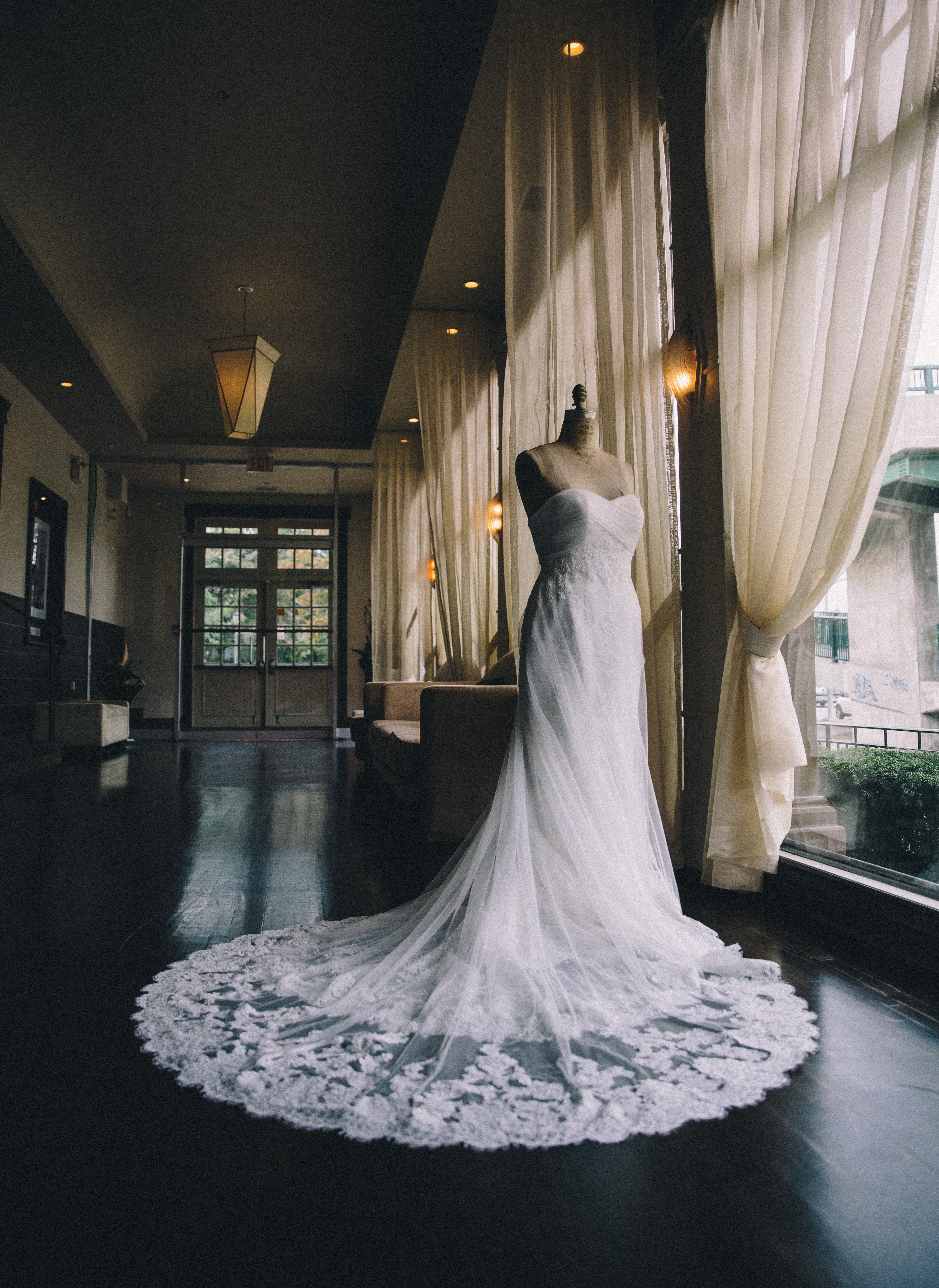 Lace sweetheart wedding gown on mannequin at the Palais Royale in Toronto, Ontario