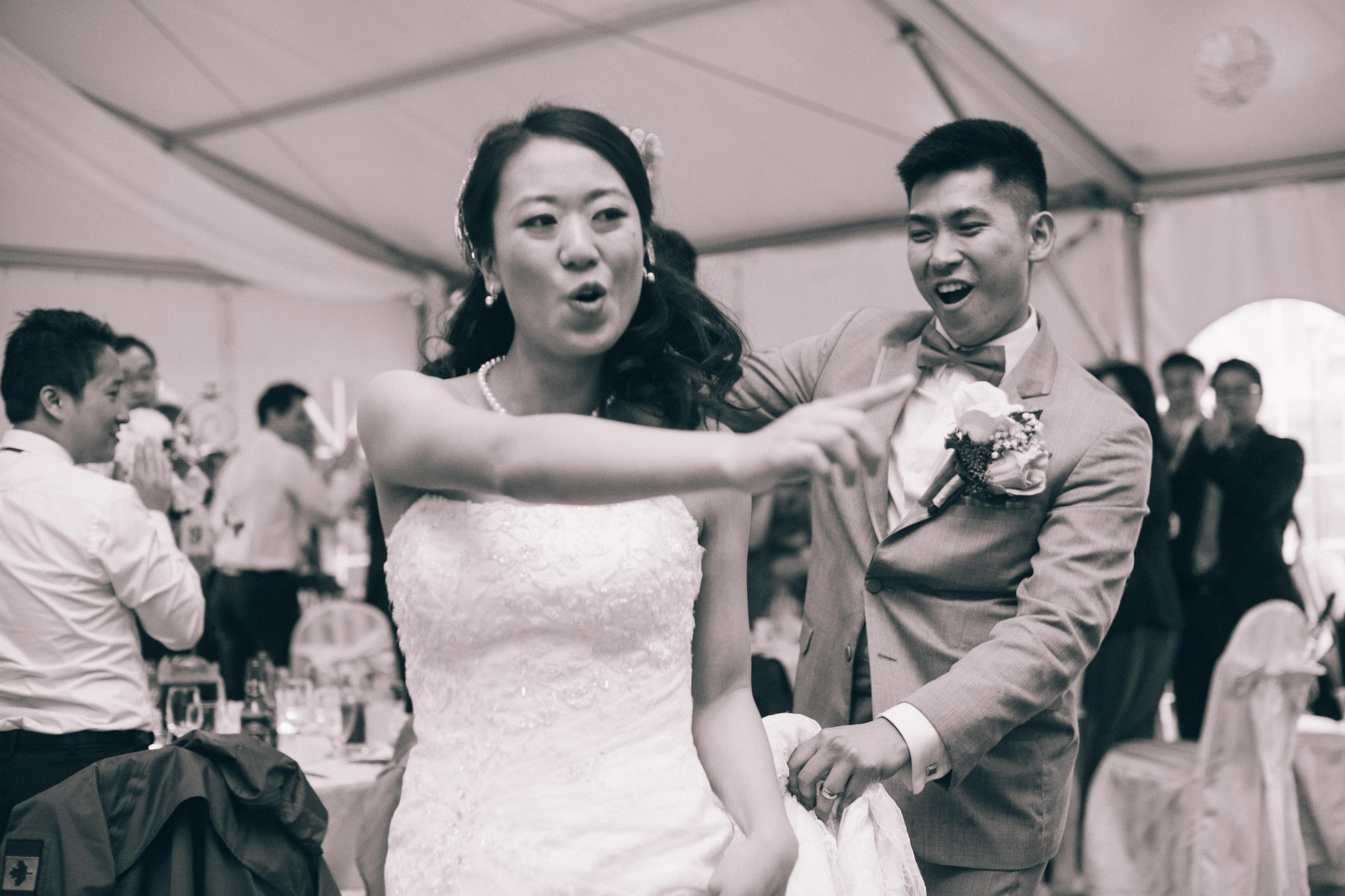 Chinese bride and groom dancing during their reception at the Mandarin Country Club in Markham